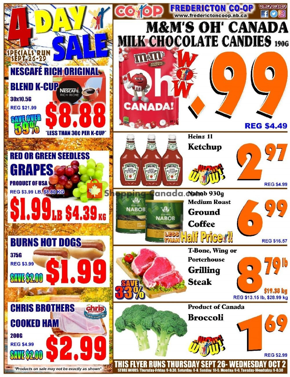 Flyer Fredericton Co-op Canada - from Thursday September 26, 2019 to Wednesday October 2, 2019