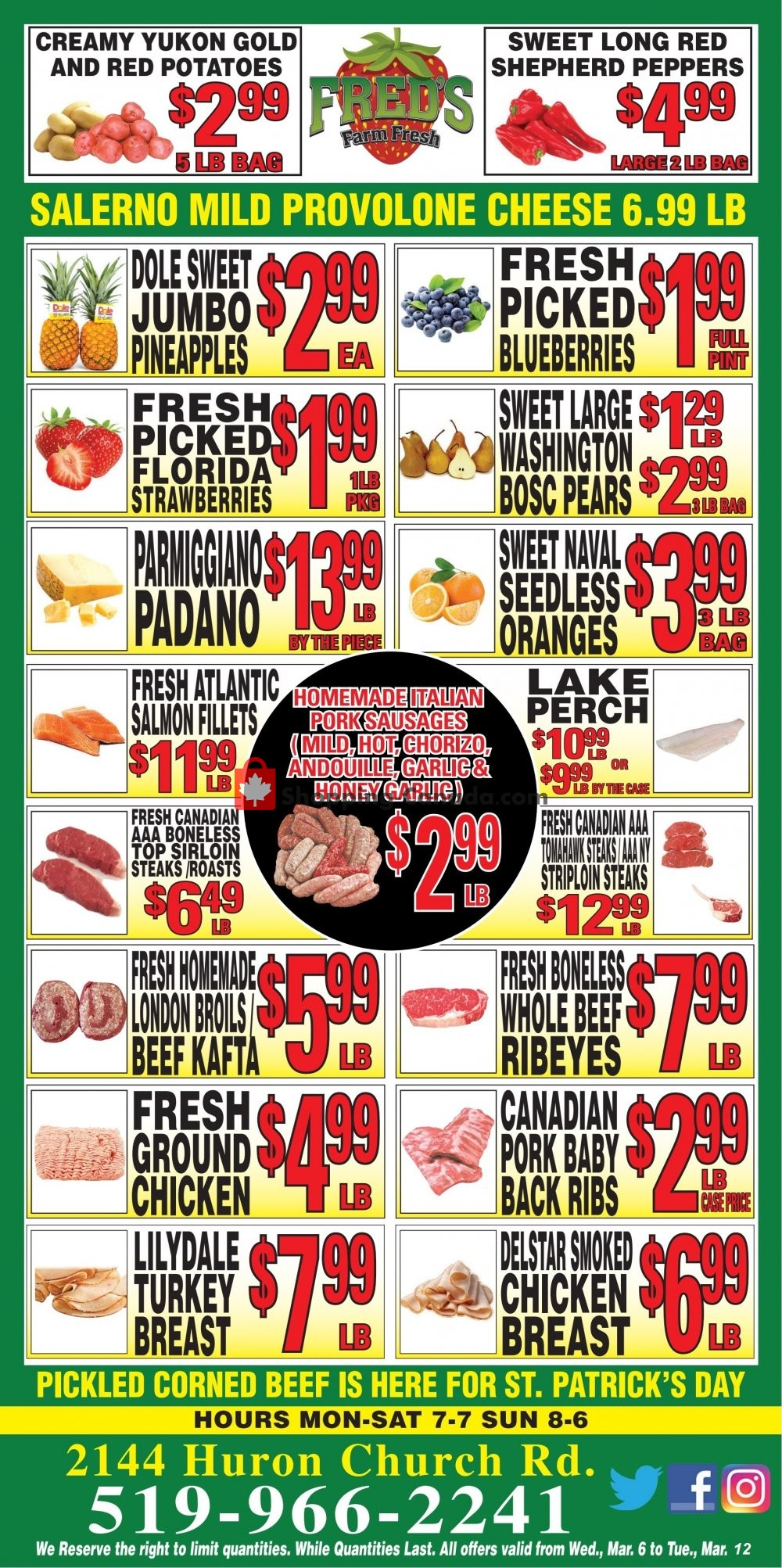 Flyer Fred's Farm Fresh Canada - from Wednesday March 6, 2019 to Tuesday March 12, 2019