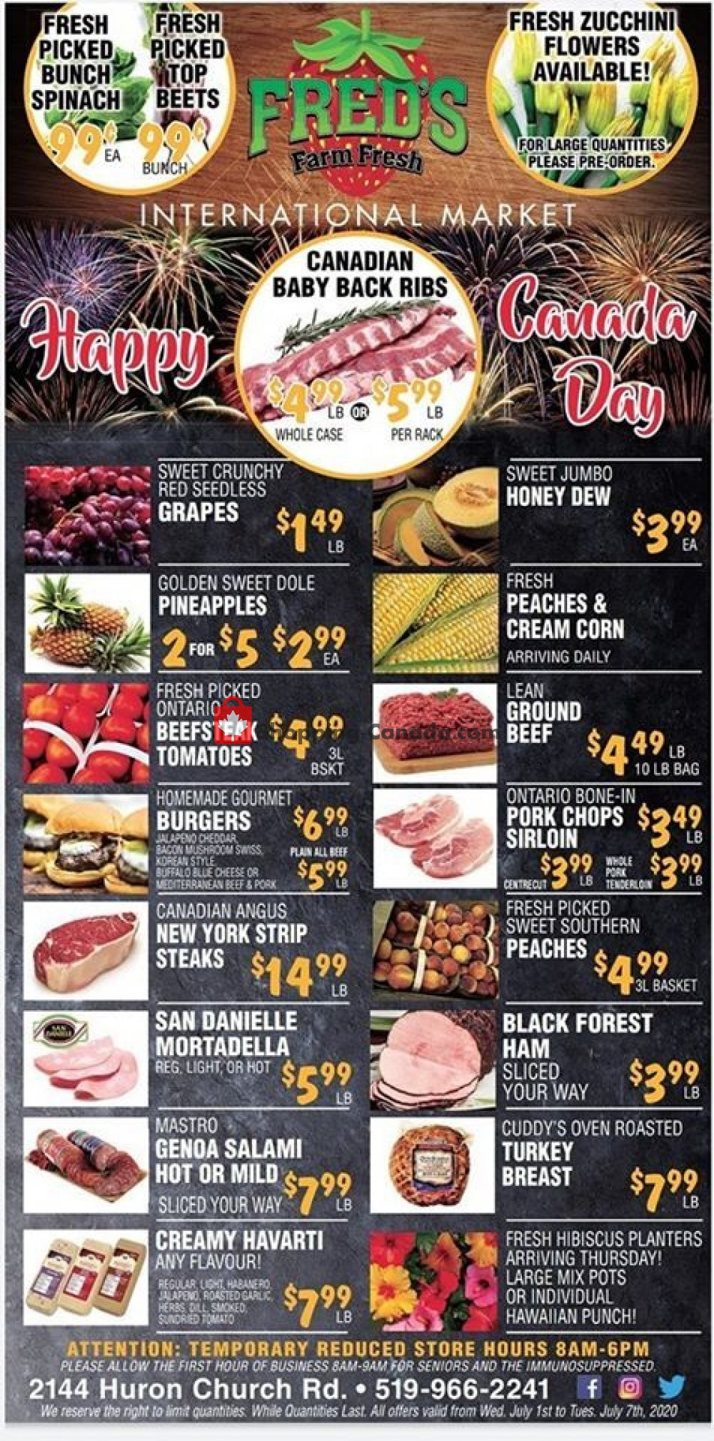 Flyer Fred's Farm Fresh Canada - from Wednesday July 1, 2020 to Tuesday July 7, 2020