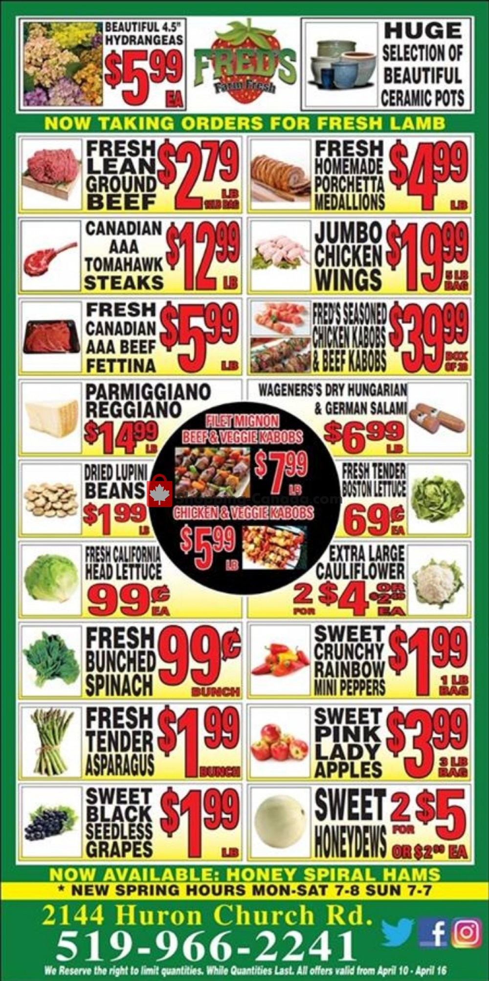 Flyer Fred's Farm Fresh Canada - from Wednesday April 10, 2019 to Tuesday April 16, 2019