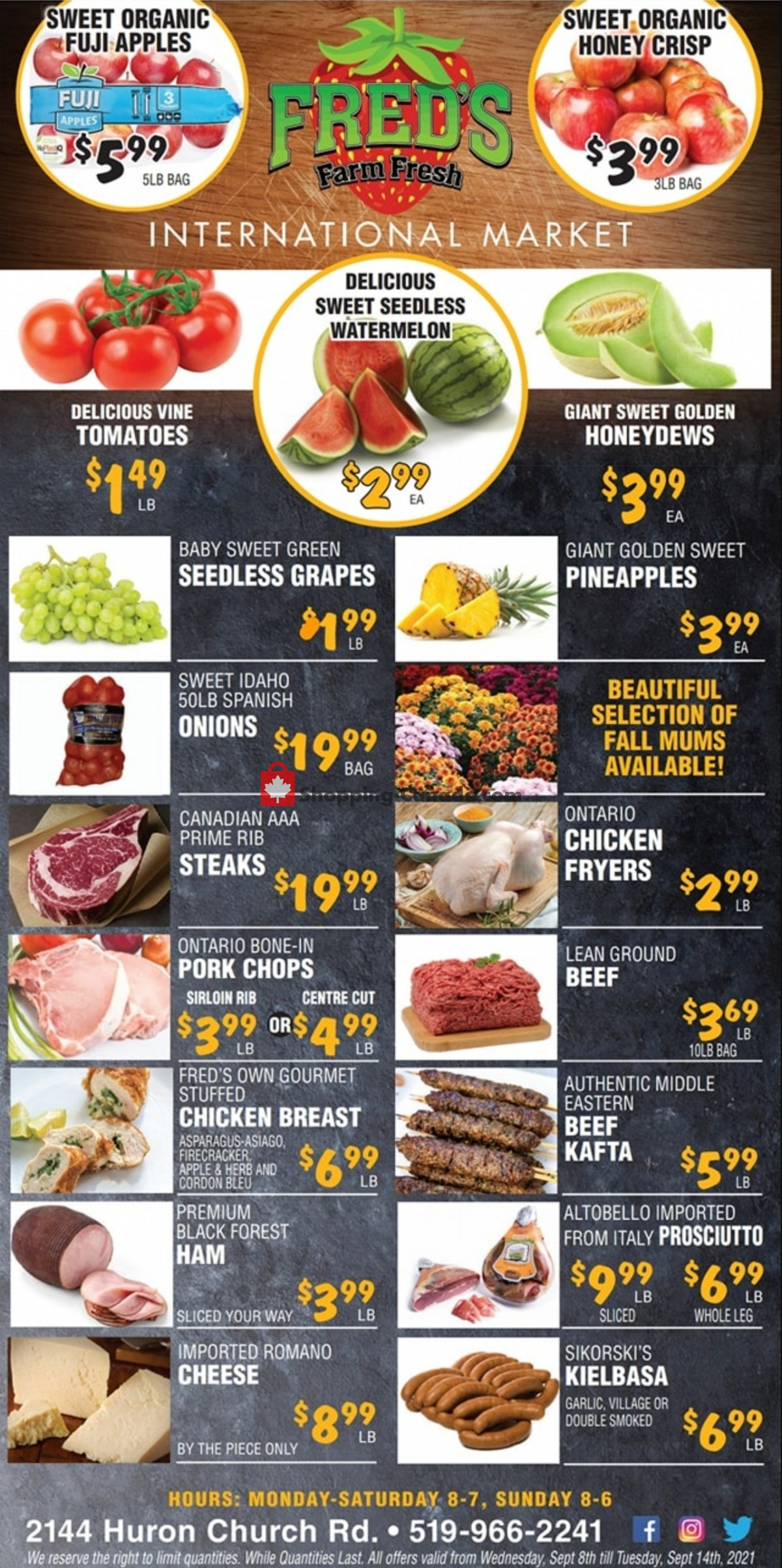 Flyer Fred's Farm Fresh Canada - from Wednesday September 8, 2021 to Tuesday September 14, 2021