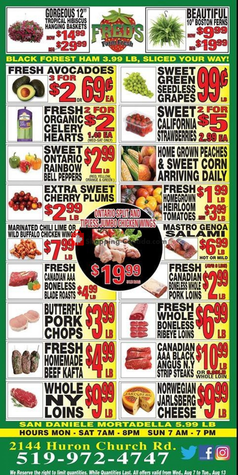 Flyer Fred's Farm Fresh Canada - from Wednesday August 7, 2019 to Tuesday August 13, 2019