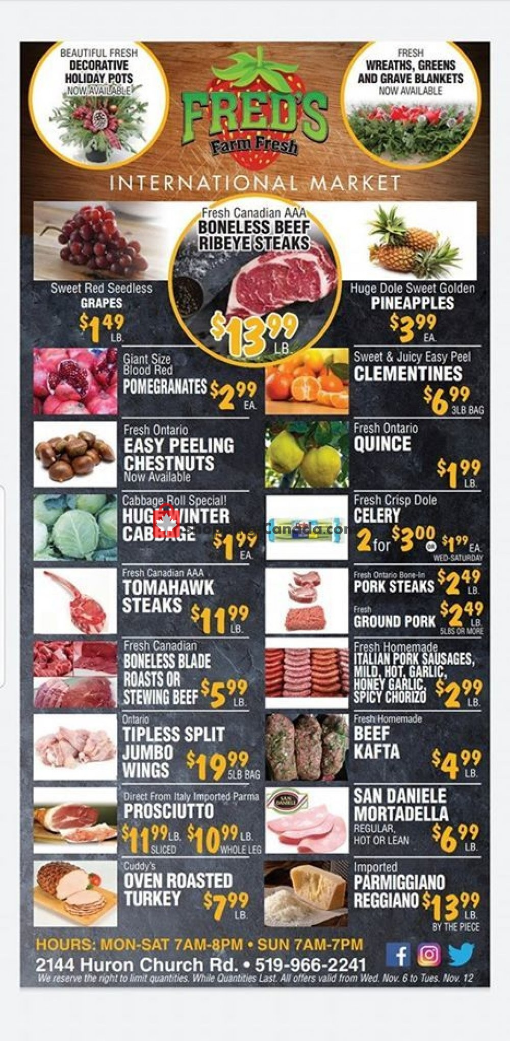 Flyer Fred's Farm Fresh Canada - from Wednesday November 6, 2019 to Tuesday November 12, 2019