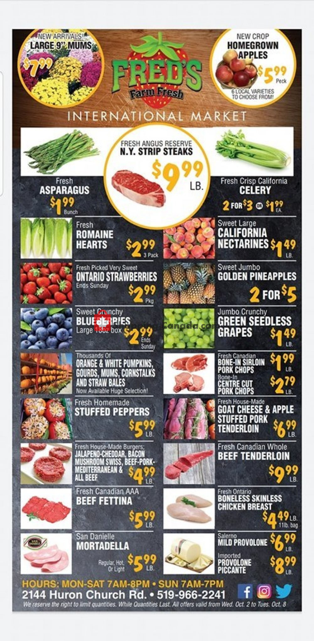 Flyer Fred's Farm Fresh Canada - from Wednesday October 2, 2019 to Tuesday October 8, 2019