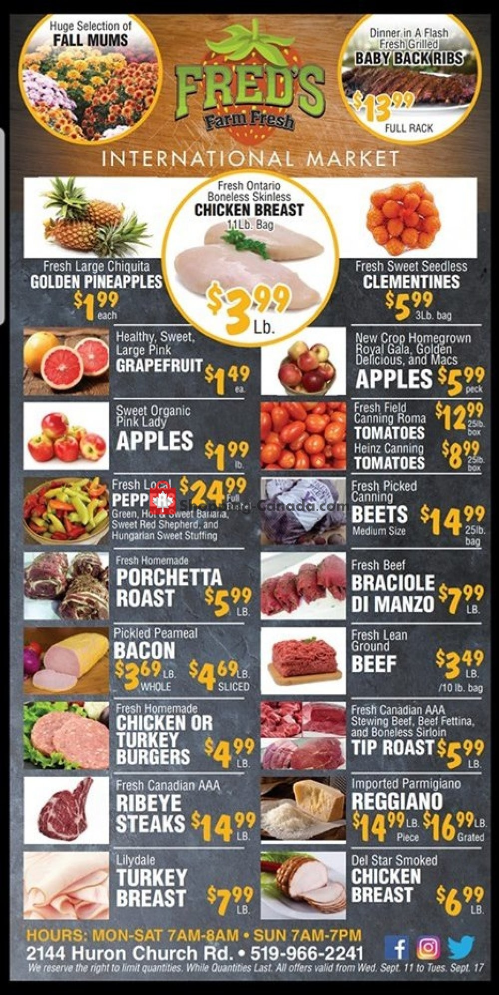 Flyer Fred's Farm Fresh Canada - from Wednesday September 11, 2019 to Tuesday September 17, 2019