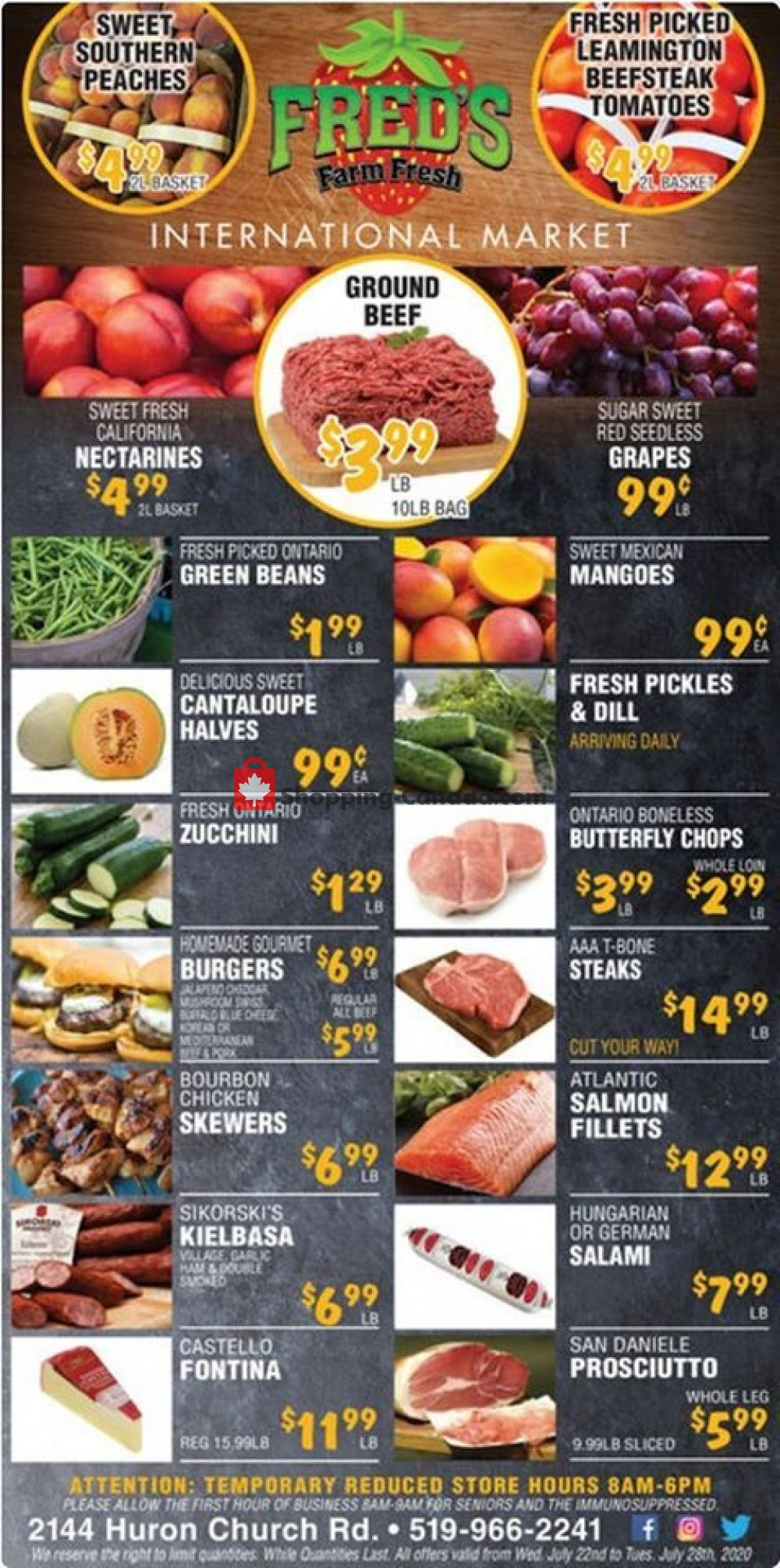 Flyer Fred's Farm Fresh Canada - from Wednesday July 22, 2020 to Tuesday July 28, 2020