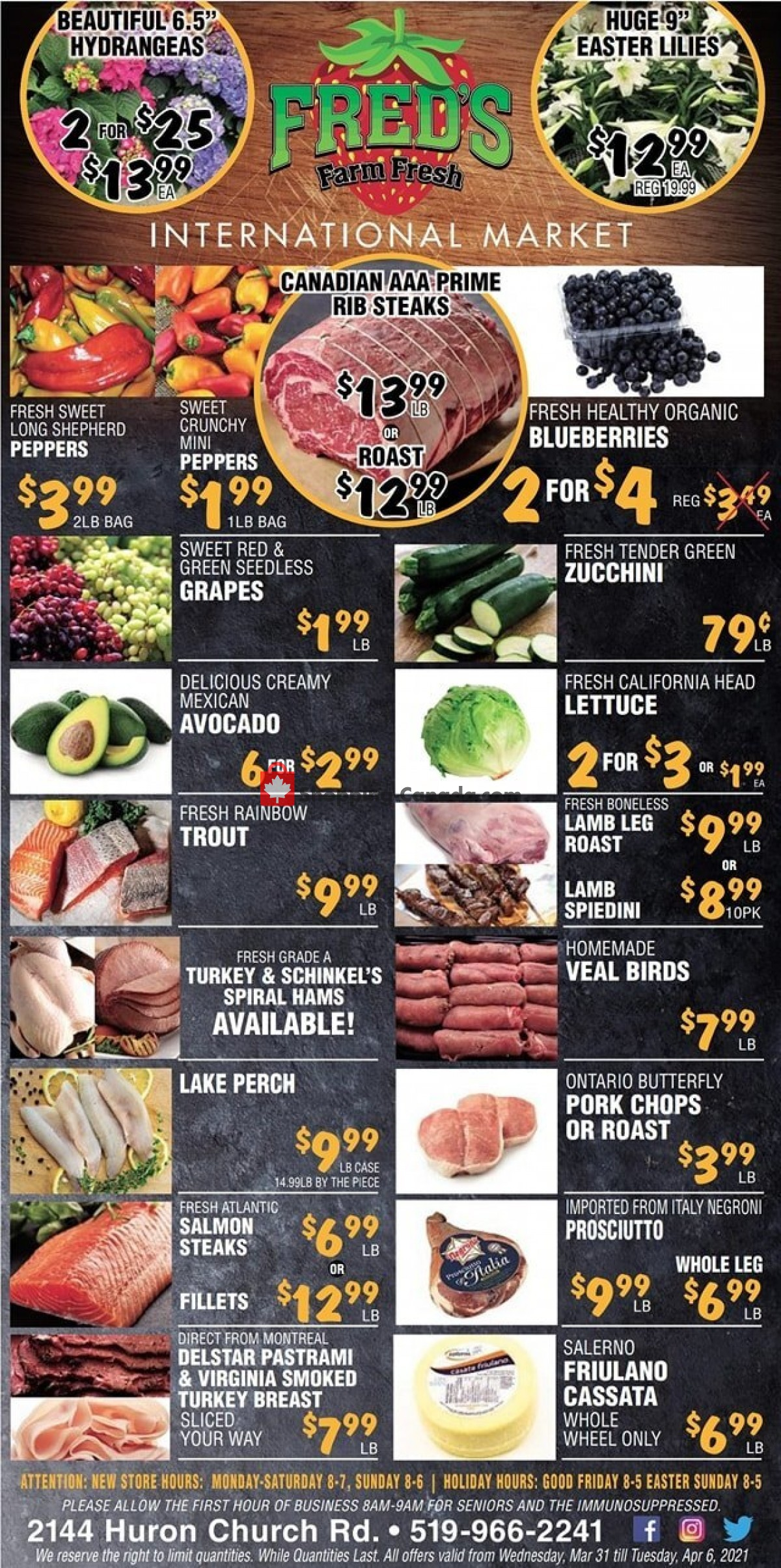 Flyer Fred's Farm Fresh Canada - from Wednesday March 31, 2021 to Tuesday April 6, 2021
