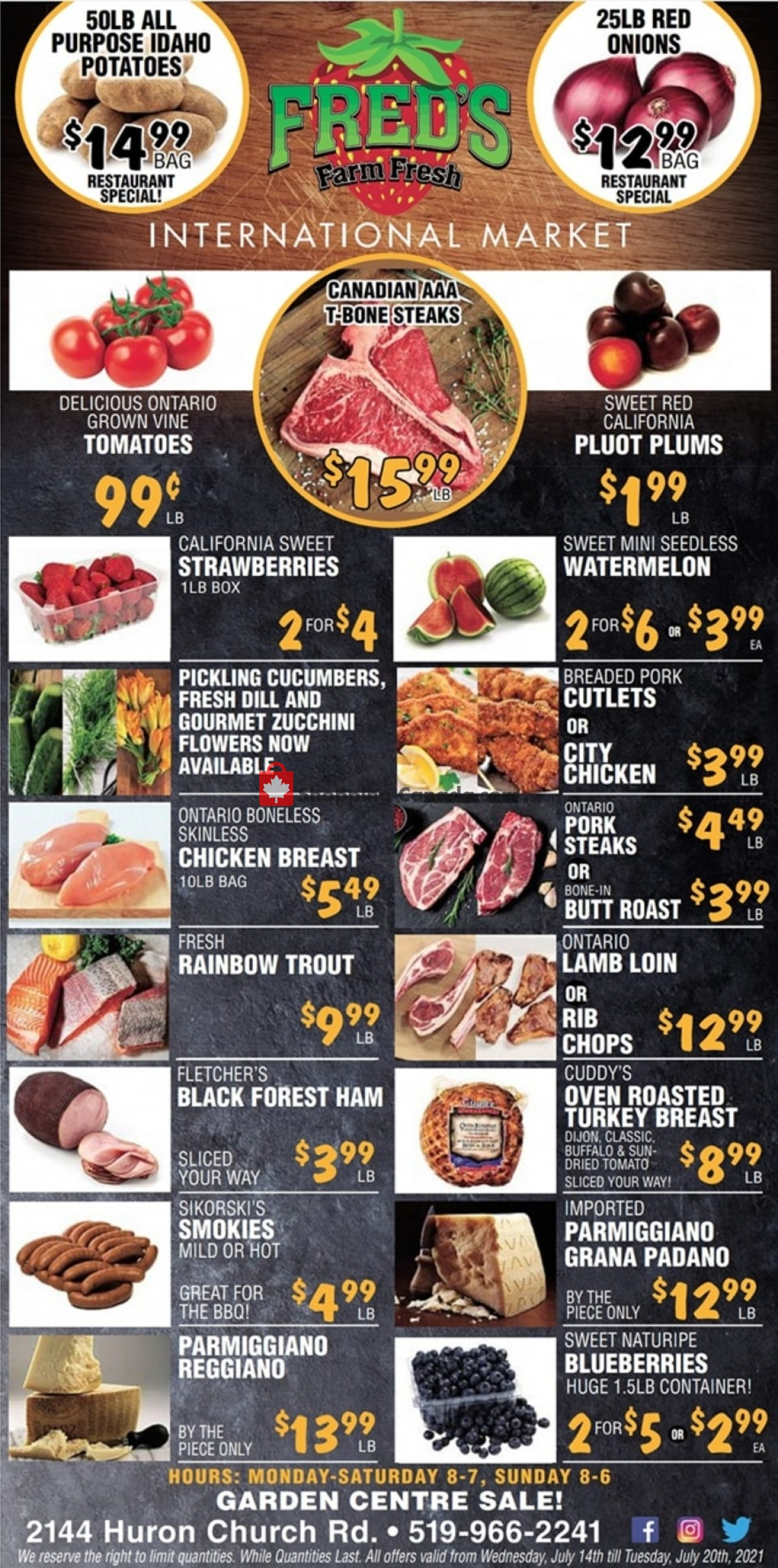 Flyer Fred's Farm Fresh Canada - from Wednesday July 14, 2021 to Tuesday July 20, 2021