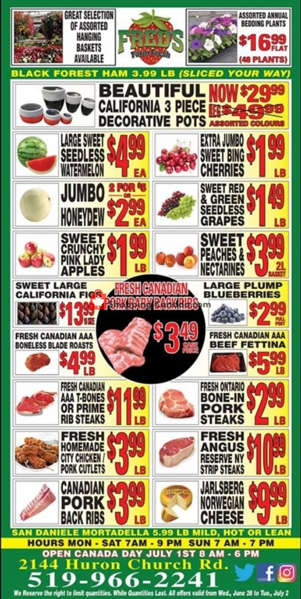 Flyer Fred's Farm Fresh Canada - from Wednesday June 26, 2019 to Tuesday July 2, 2019