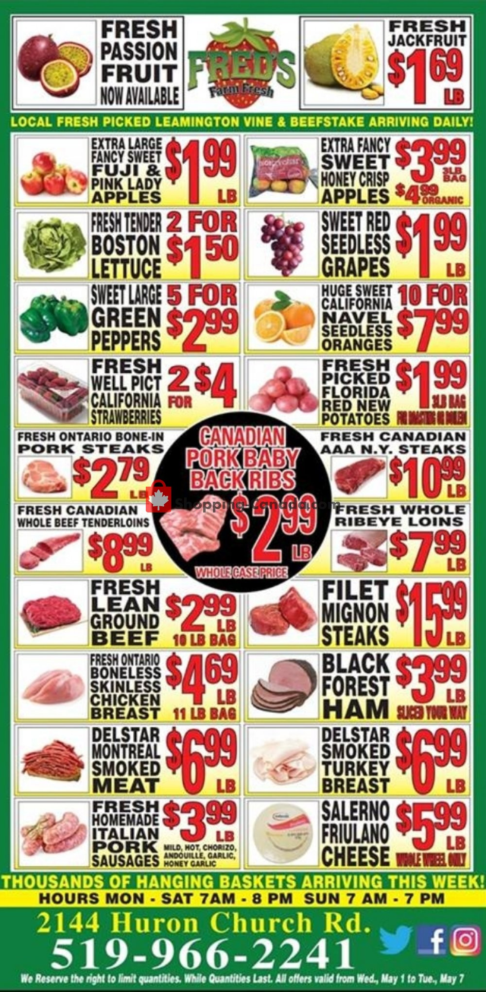 Flyer Fred's Farm Fresh Canada - from Wednesday May 1, 2019 to Tuesday May 7, 2019