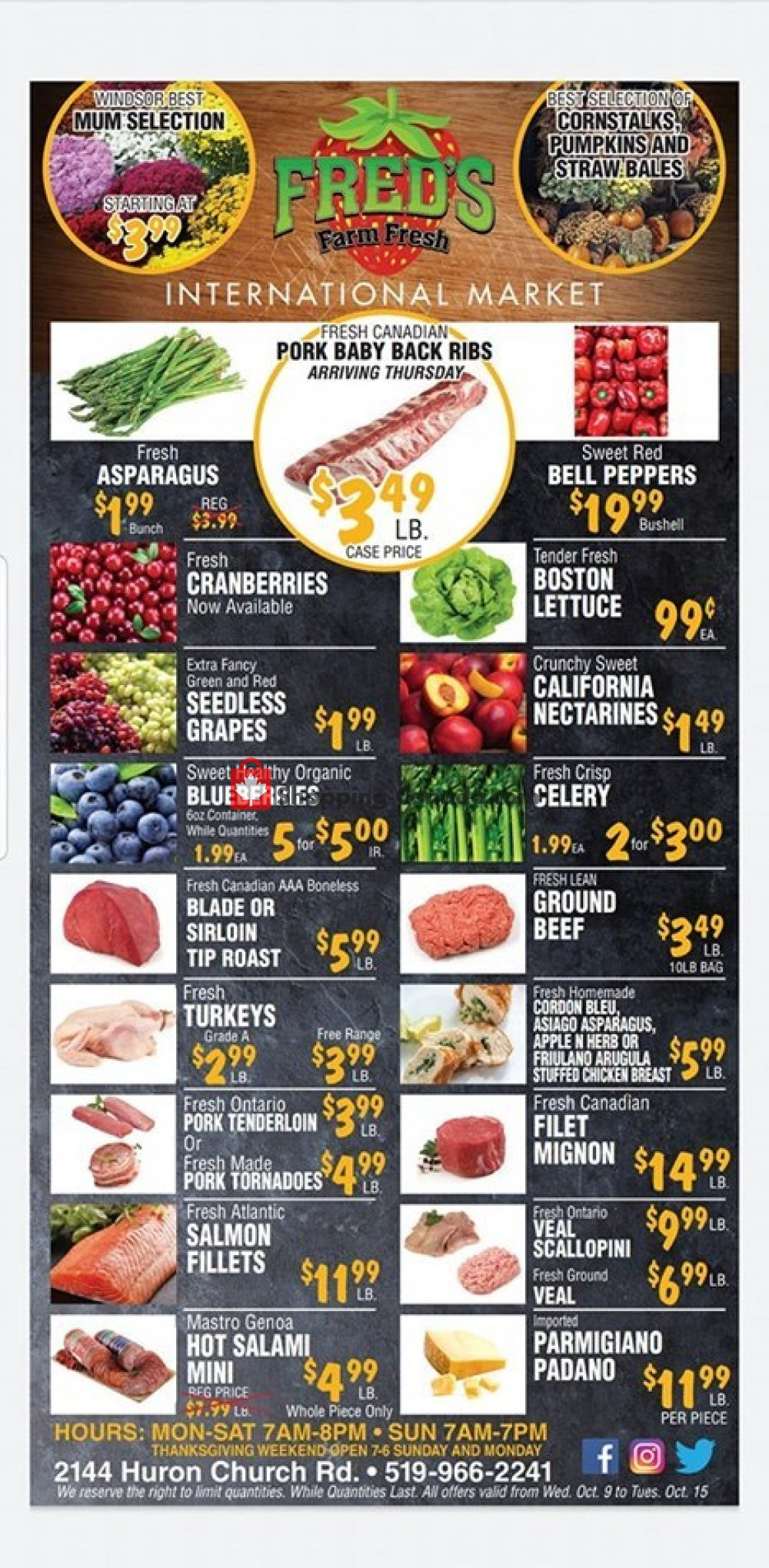 Flyer Fred's Farm Fresh Canada - from Wednesday October 9, 2019 to Tuesday October 15, 2019
