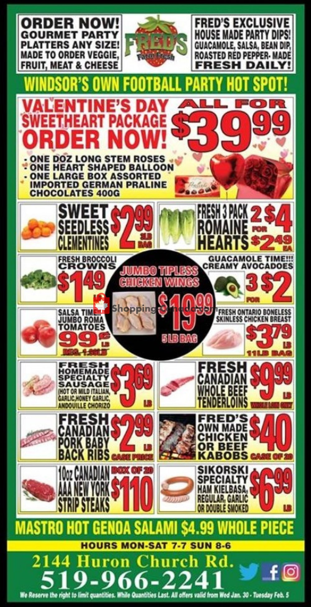 Flyer Fred's Farm Fresh Canada - from Wednesday January 30, 2019 to Tuesday February 5, 2019