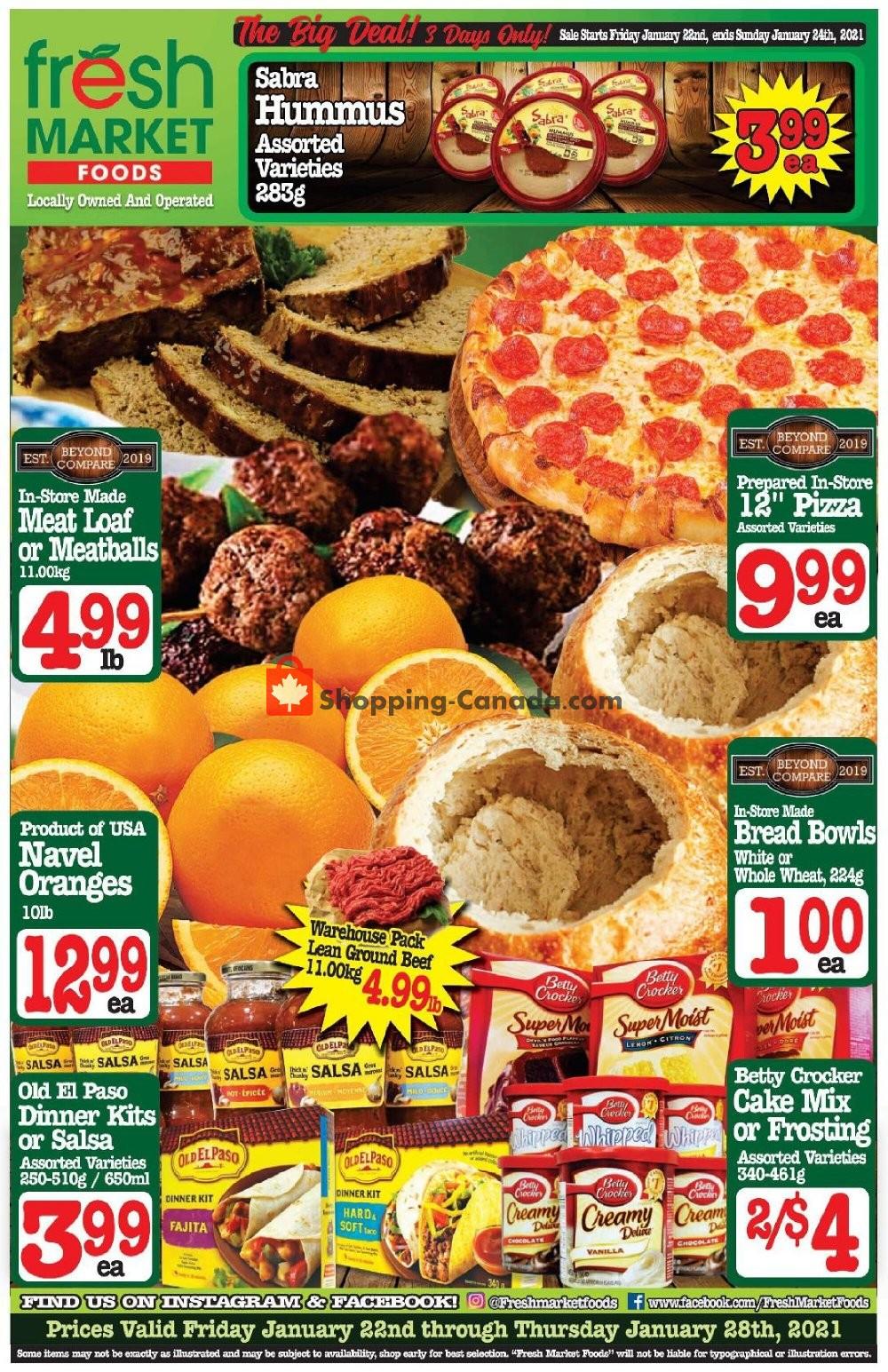 Flyer Fresh Market Foods Canada - from Friday January 22, 2021 to Thursday January 28, 2021