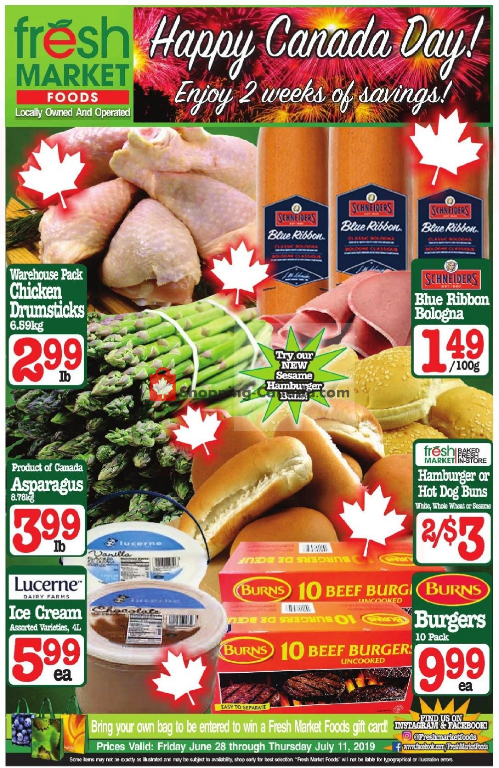 Flyer Fresh Market Foods Canada - from Friday June 28, 2019 to Thursday July 11, 2019