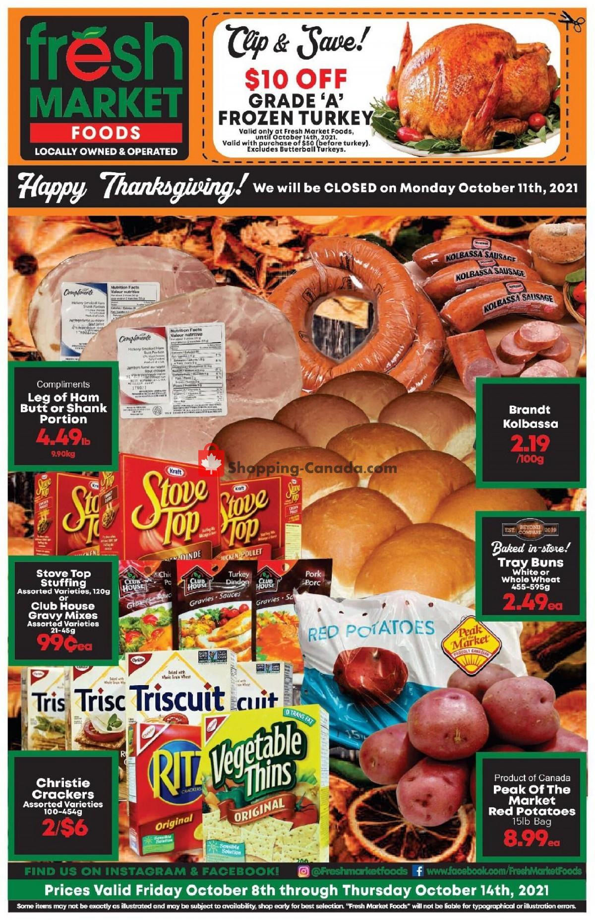 Flyer Fresh Market Foods Canada - from Friday October 8, 2021 to Thursday October 14, 2021