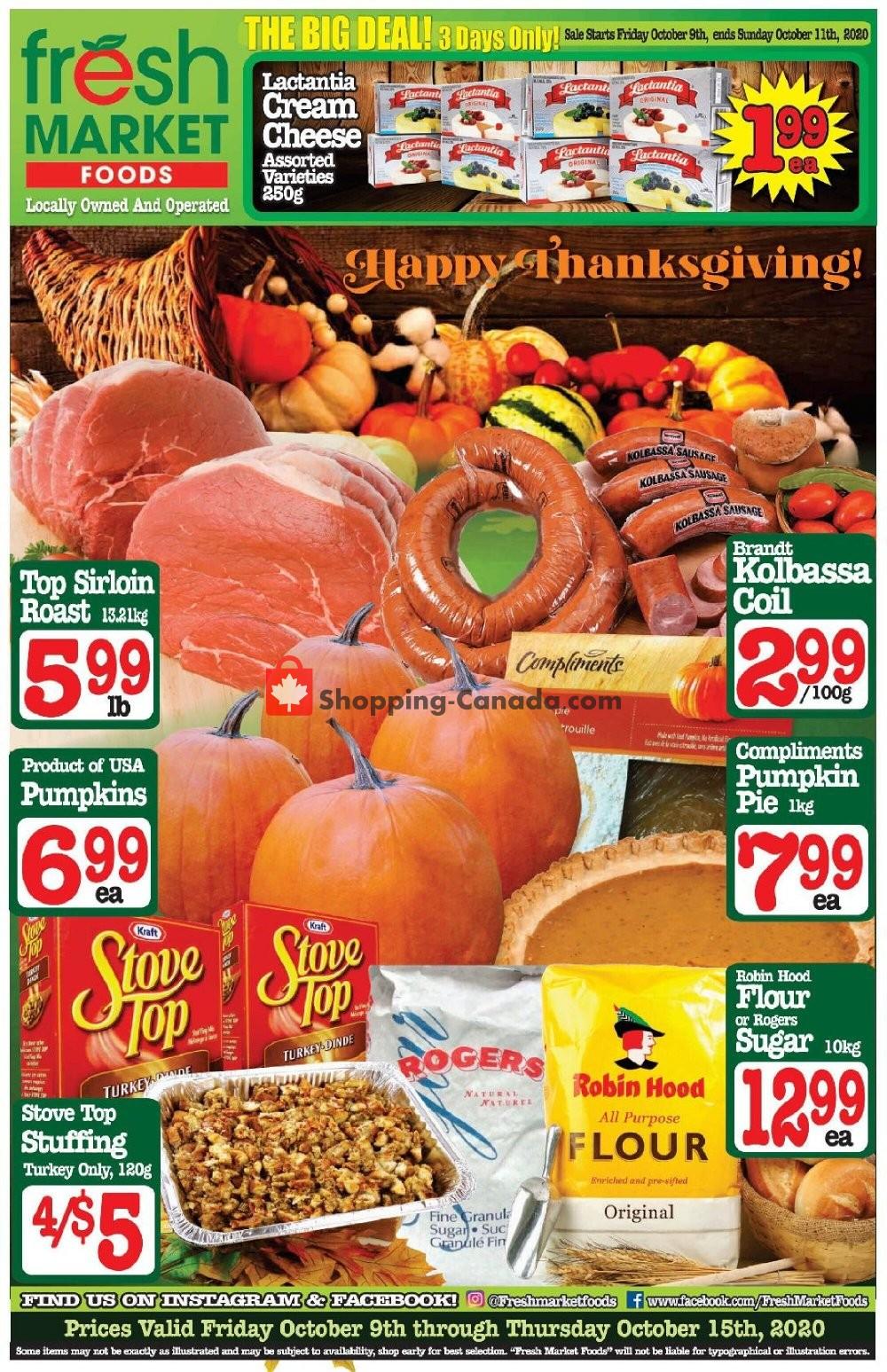 Flyer Fresh Market Foods Canada - from Friday October 9, 2020 to Thursday October 15, 2020