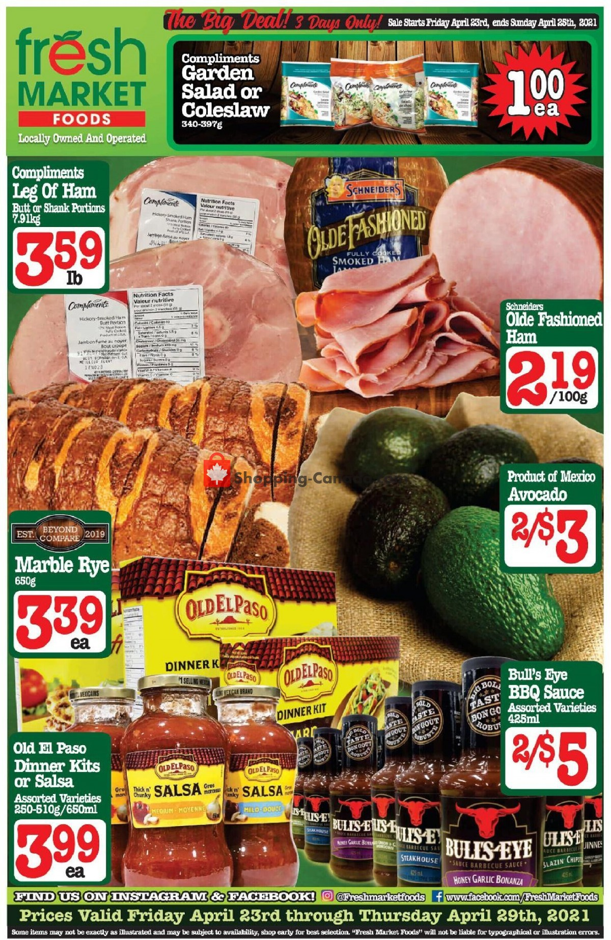 Flyer Fresh Market Foods Canada - from Friday April 23, 2021 to Thursday April 29, 2021