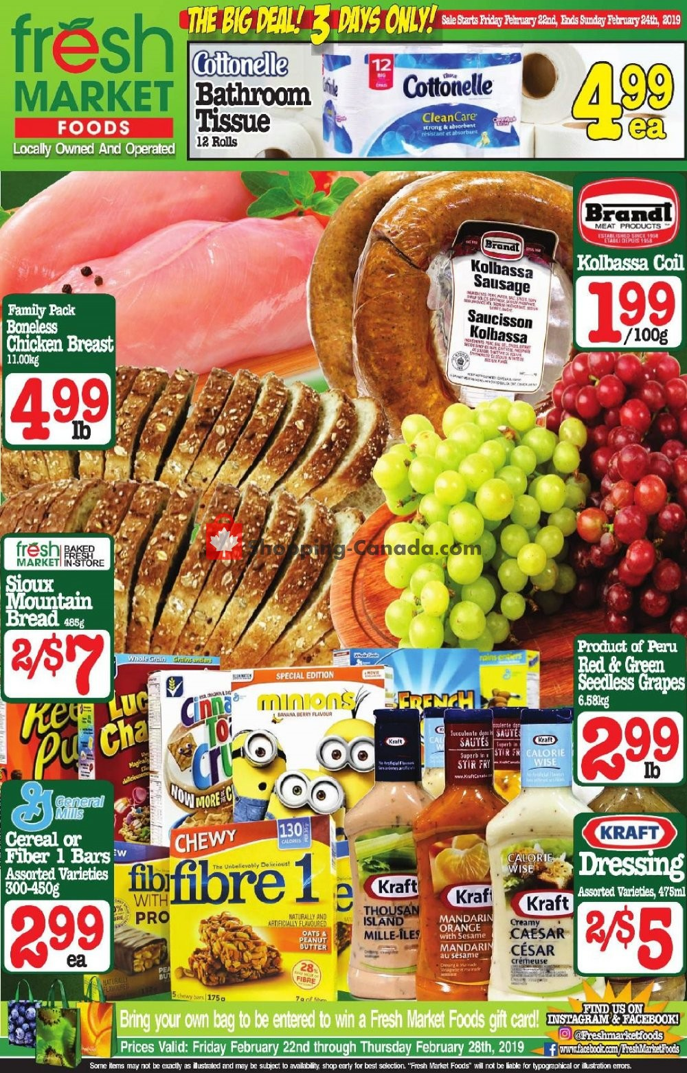 Flyer Fresh Market Foods Canada - from Friday February 22, 2019 to Thursday February 28, 2019