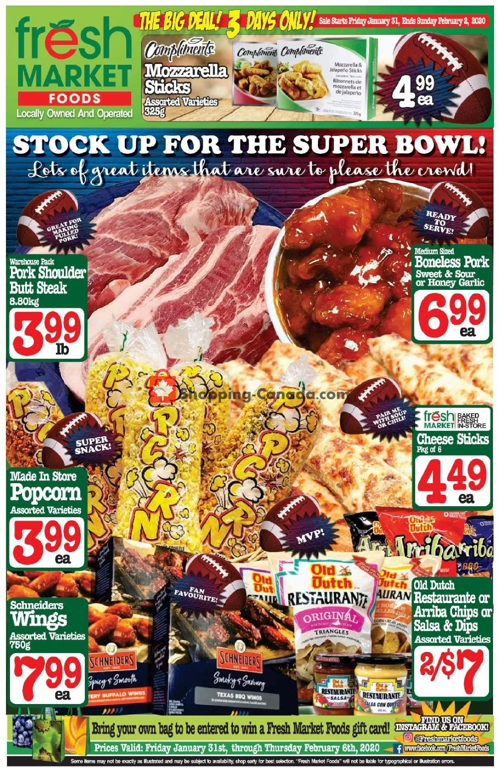 Flyer Fresh Market Foods Canada - from Friday January 31, 2020 to Thursday February 6, 2020