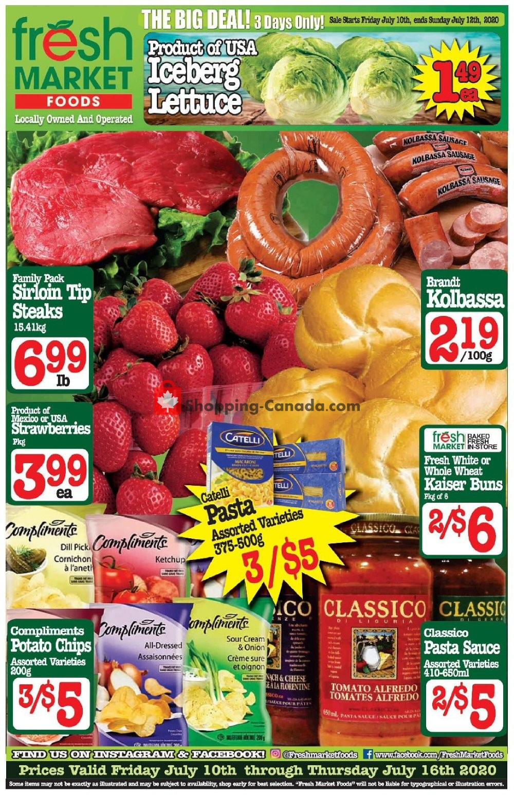 Flyer Fresh Market Foods Canada - from Friday July 10, 2020 to Thursday July 16, 2020