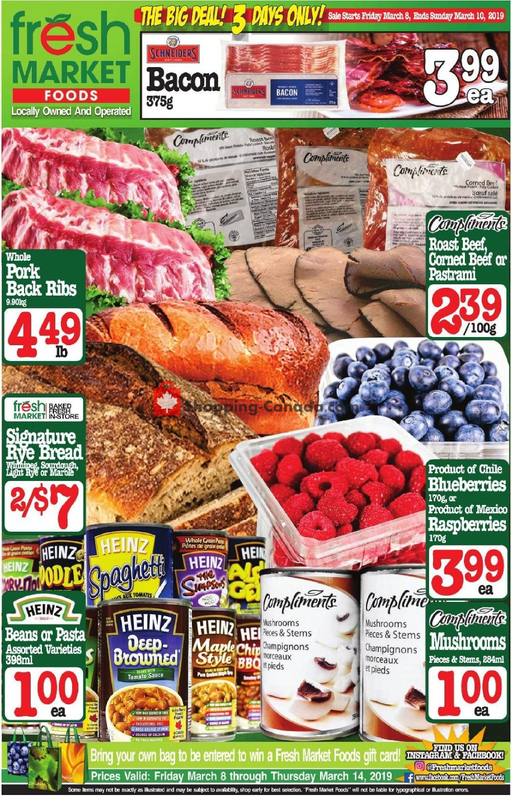 Flyer Fresh Market Foods Canada - from Friday March 8, 2019 to Sunday March 10, 2019