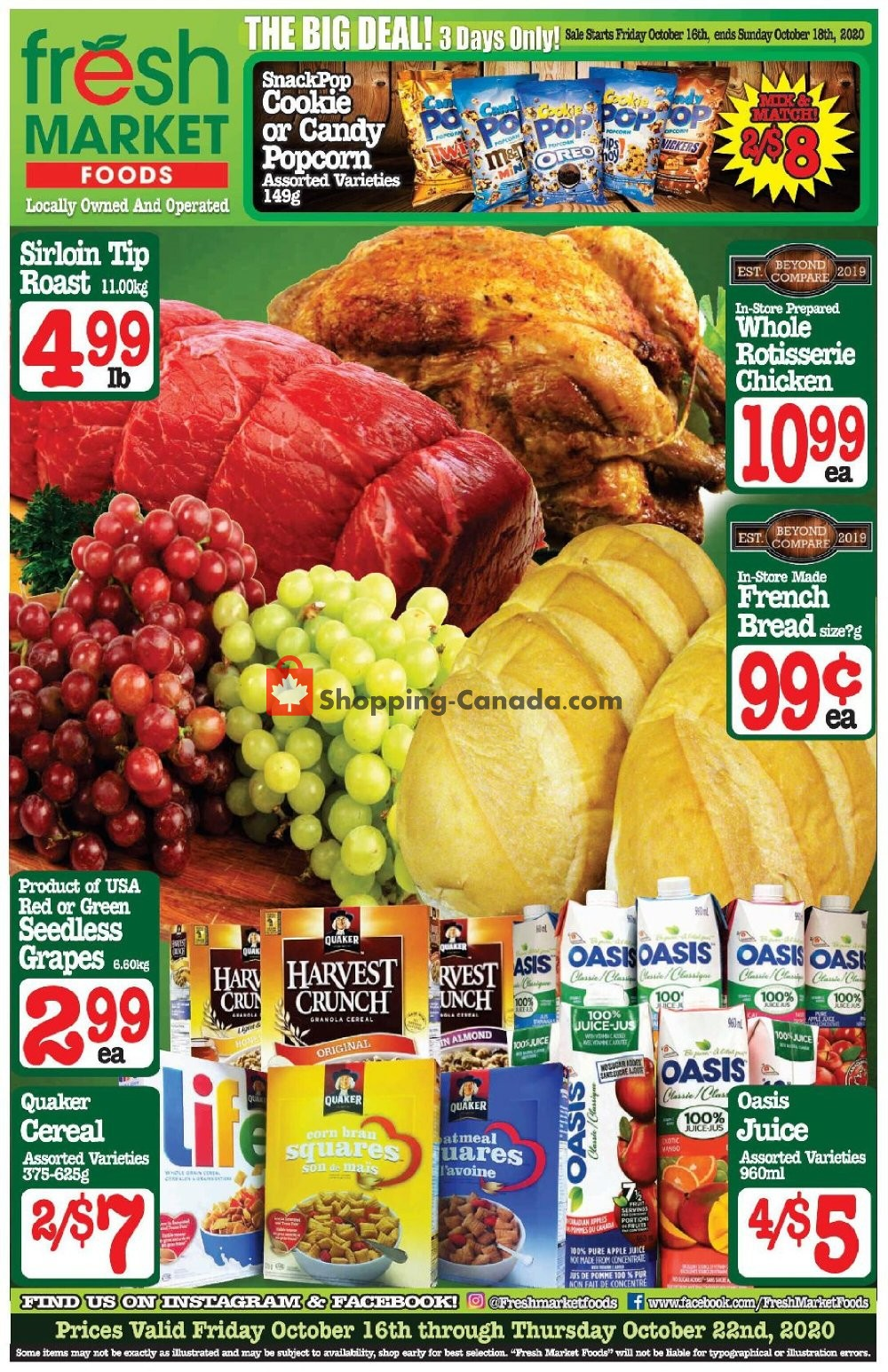 Flyer Fresh Market Foods Canada - from Friday October 16, 2020 to Thursday October 22, 2020