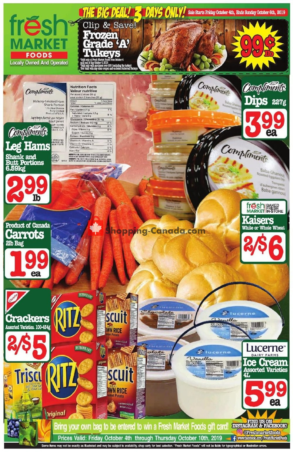 Flyer Fresh Market Foods Canada - from Friday October 4, 2019 to Thursday October 10, 2019