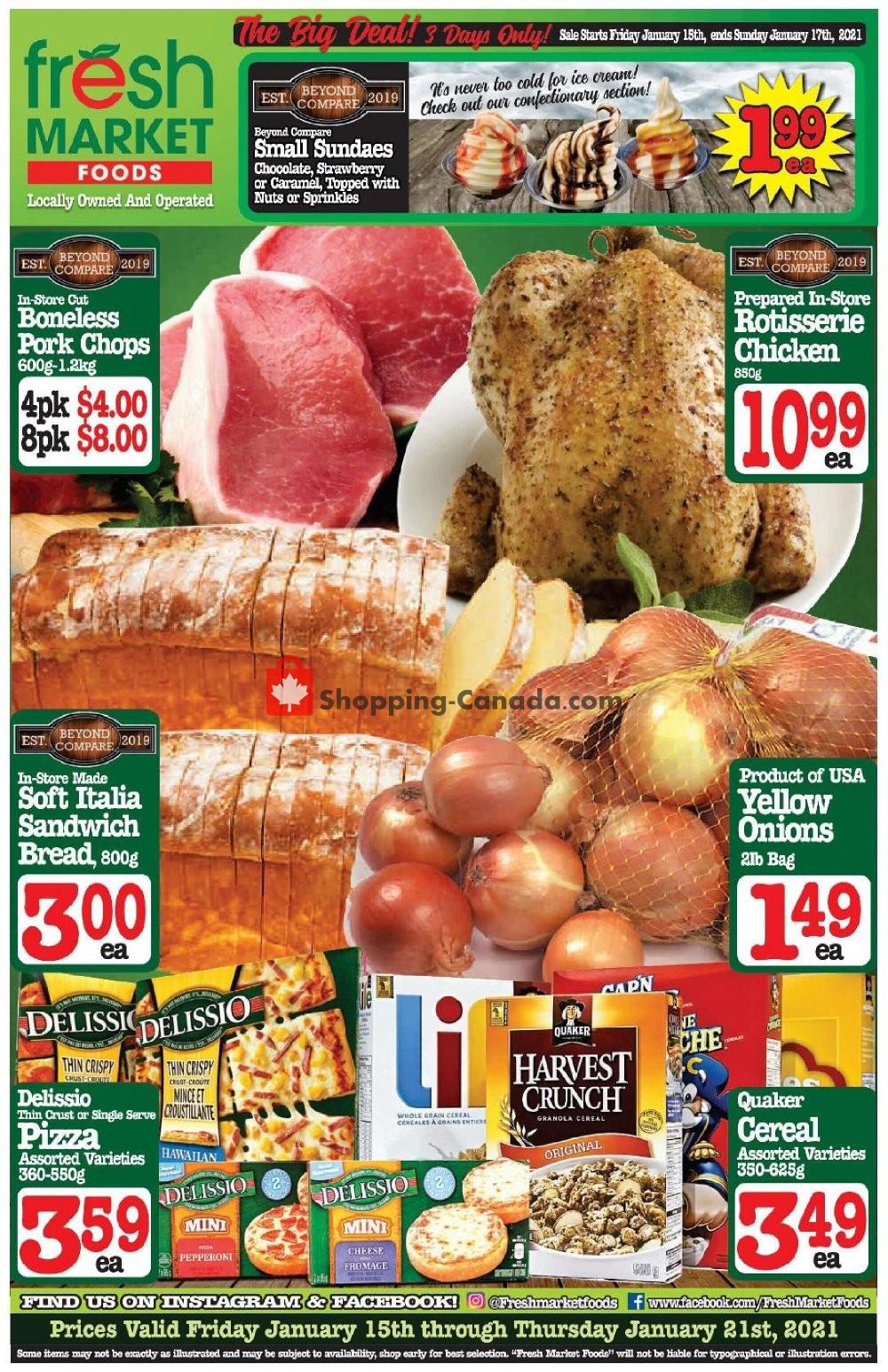 Flyer Fresh Market Foods Canada - from Friday January 15, 2021 to Thursday January 21, 2021