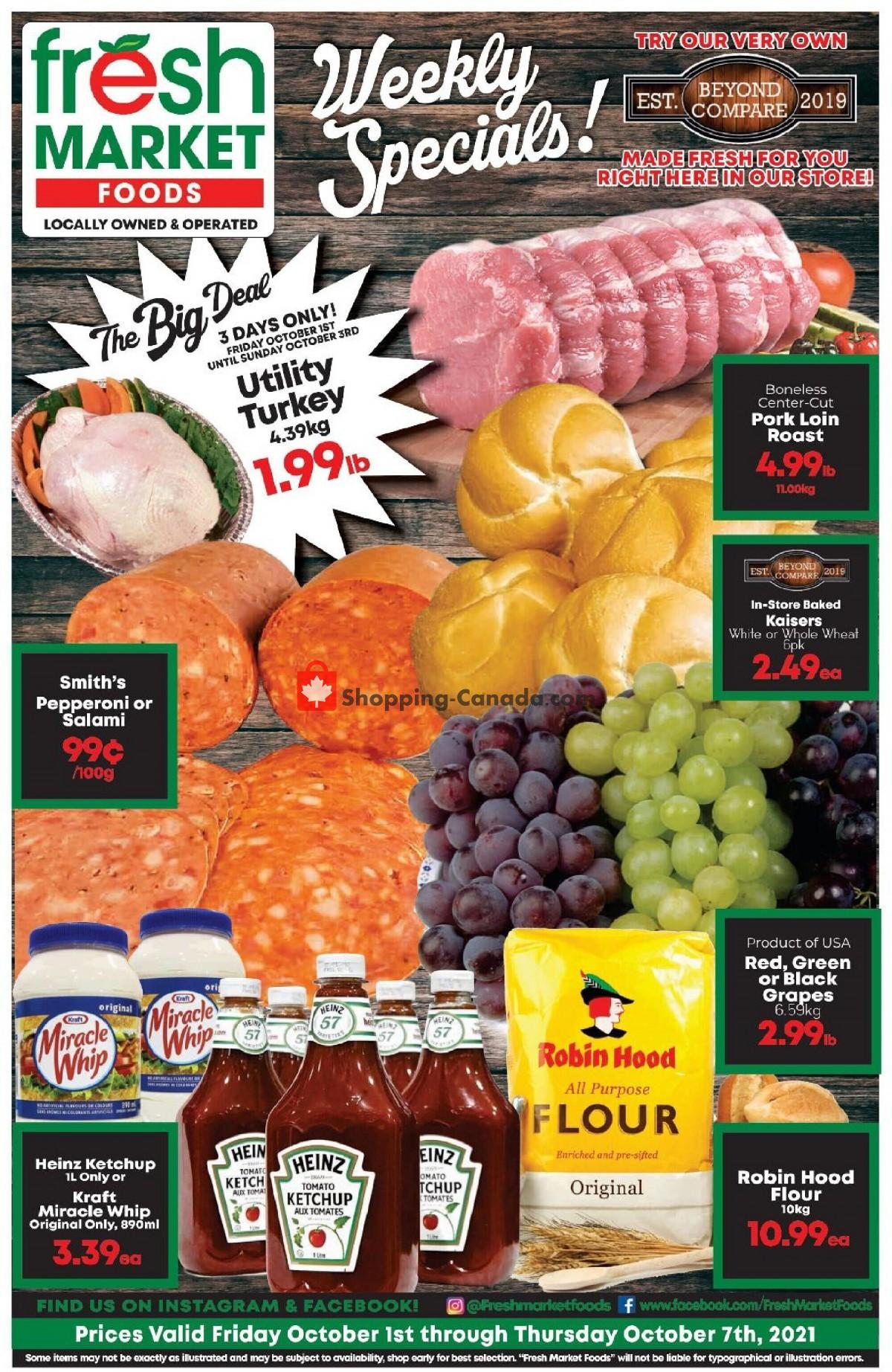 Flyer Fresh Market Foods Canada - from Friday October 1, 2021 to Thursday October 7, 2021
