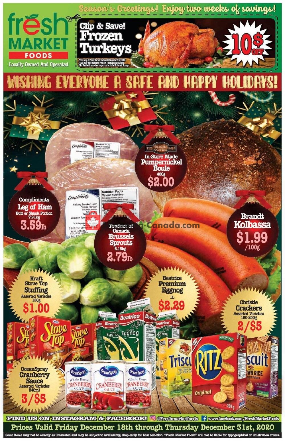 Flyer Fresh Market Foods Canada - from Friday December 18, 2020 to Thursday December 31, 2020