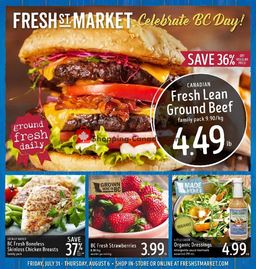 Flyer Fresh St. Market Canada - from Friday July 31, 2020 to Thursday August 6, 2020
