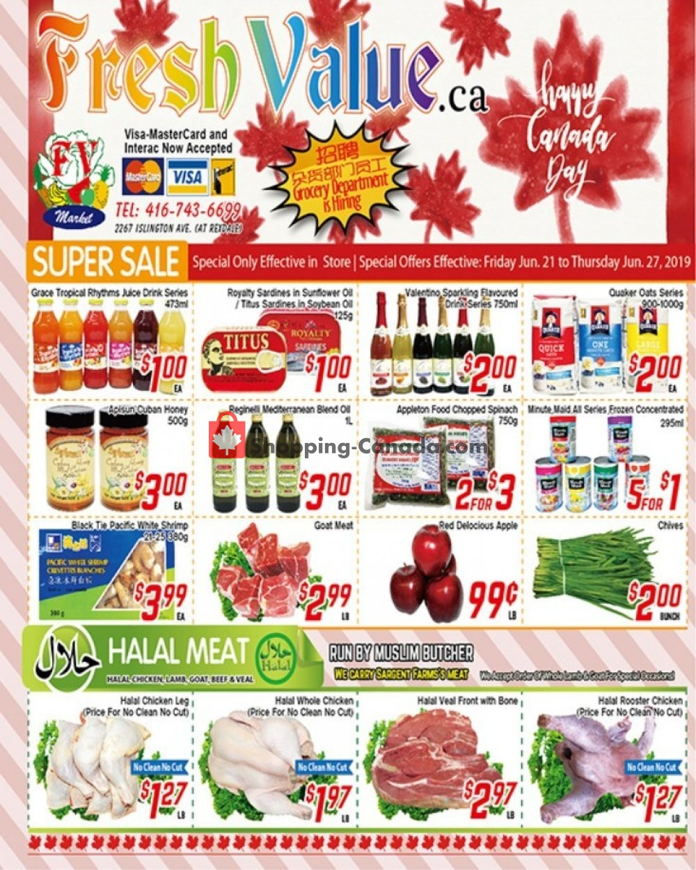 Flyer Fresh Value Canada - from Friday June 21, 2019 to Thursday June 27, 2019