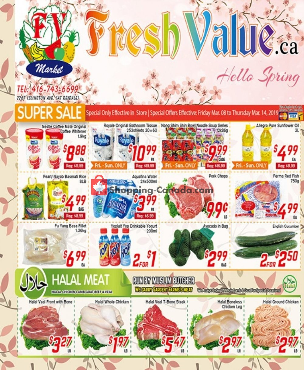 Flyer Fresh Value Canada - from Friday March 8, 2019 to Thursday March 14, 2019