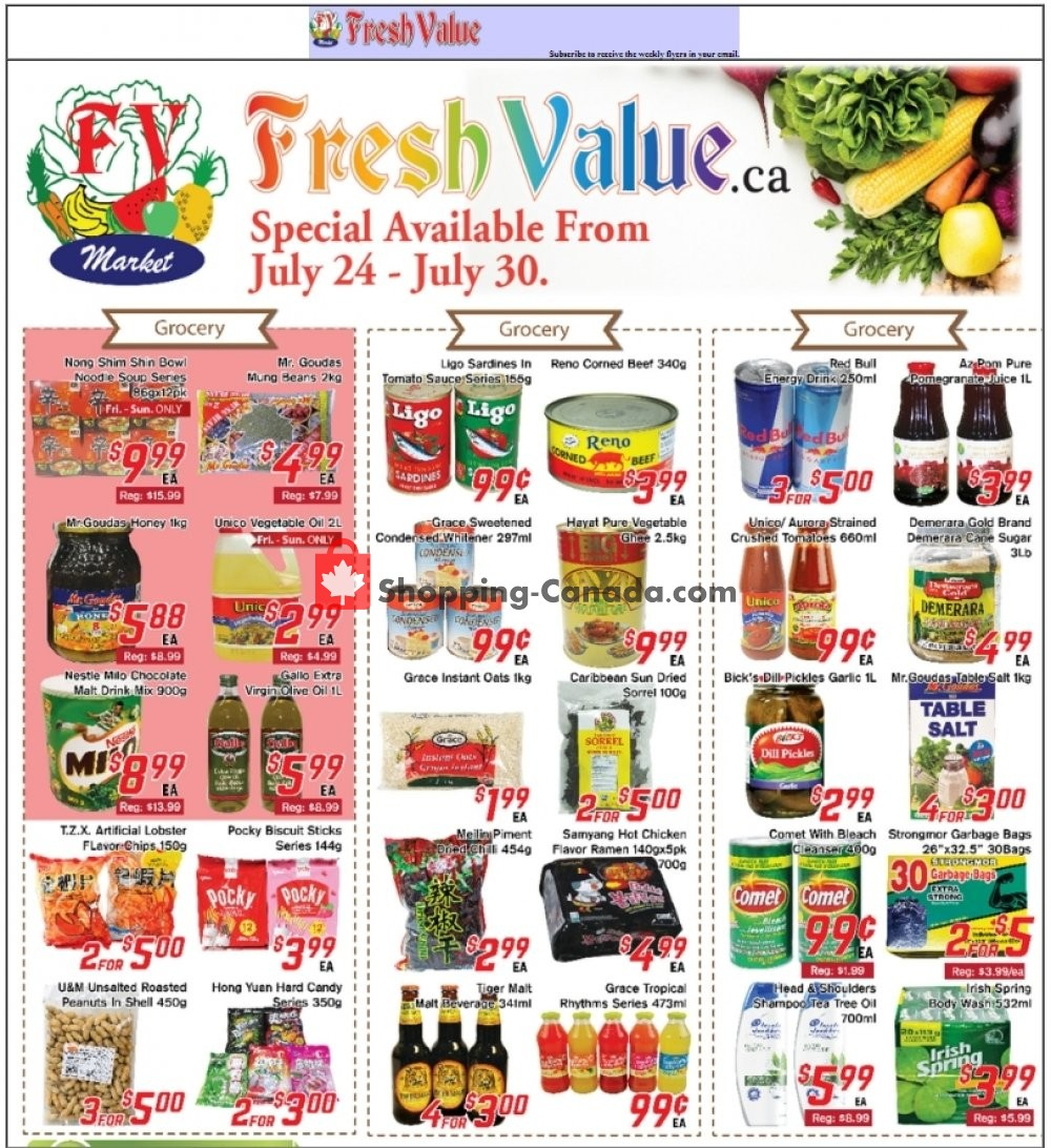 Flyer Fresh Value Canada - from Friday July 24, 2020 to Thursday July 30, 2020