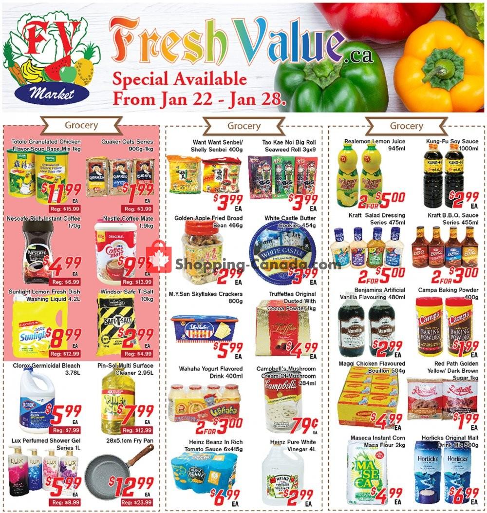 Flyer Fresh Value Canada - from Friday January 22, 2021 to Thursday January 28, 2021