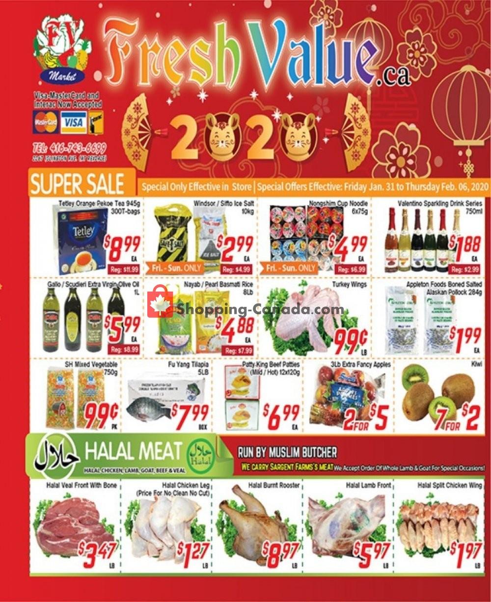 Flyer Fresh Value Canada - from Friday January 31, 2020 to Thursday February 6, 2020