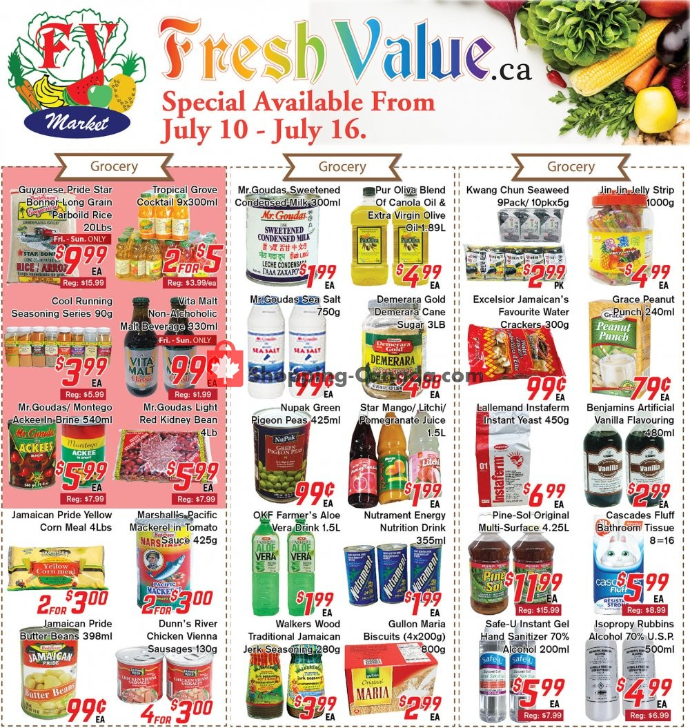Flyer Fresh Value Canada - from Friday July 10, 2020 to Thursday July 16, 2020