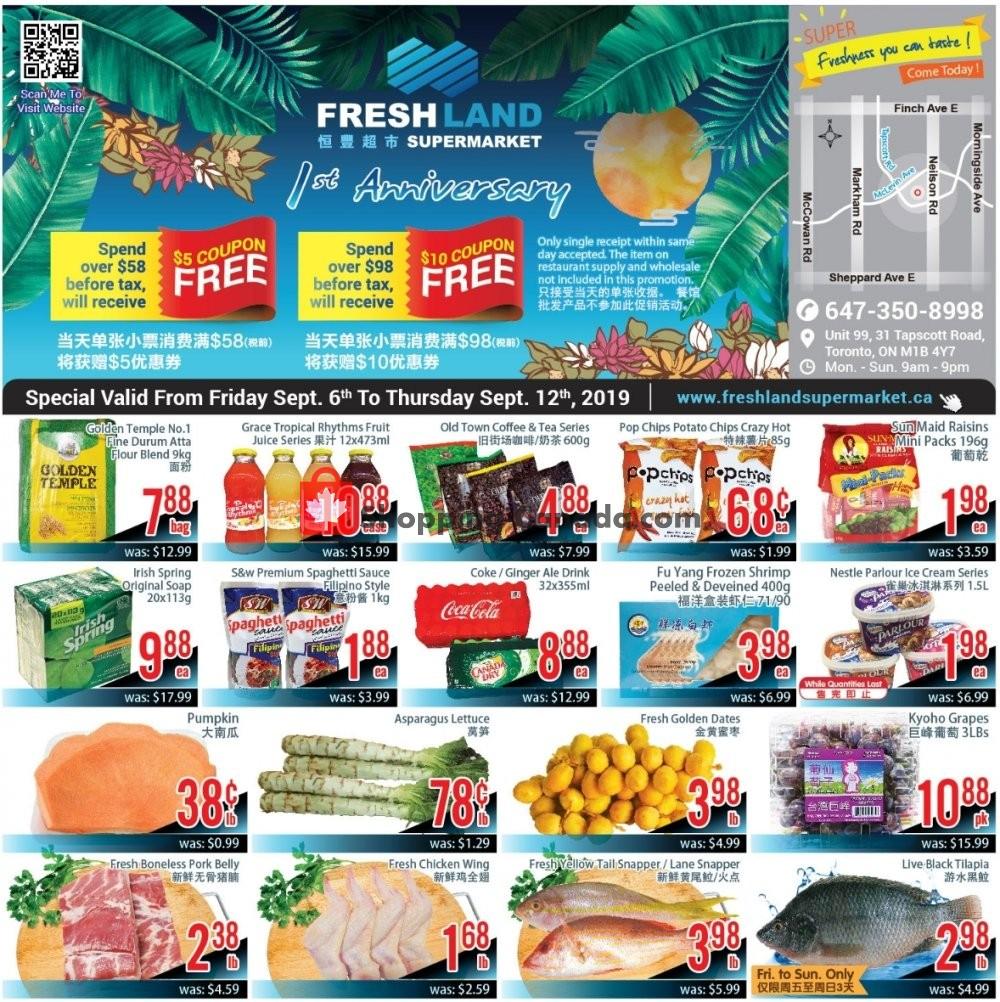 Flyer FreshLand Supermarket Canada - from Friday September 6, 2019 to Thursday September 12, 2019