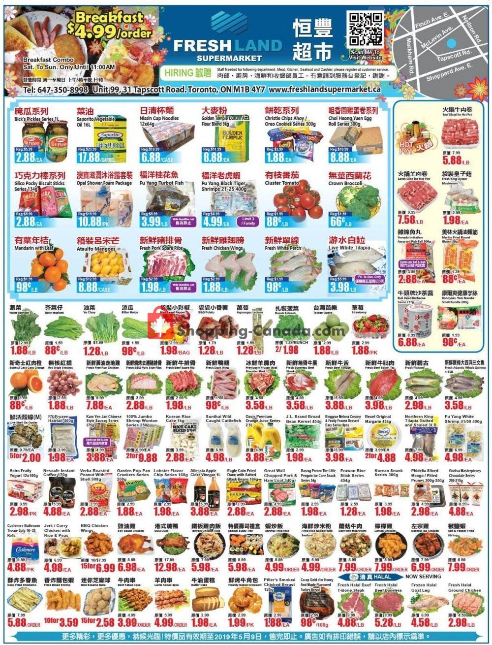Flyer FreshLand Supermarket Canada - from Friday May 3, 2019 to Thursday May 9, 2019