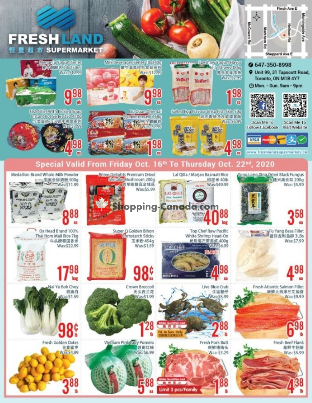 Flyer FreshLand Supermarket Canada - from Friday October 16, 2020 to Thursday October 22, 2020