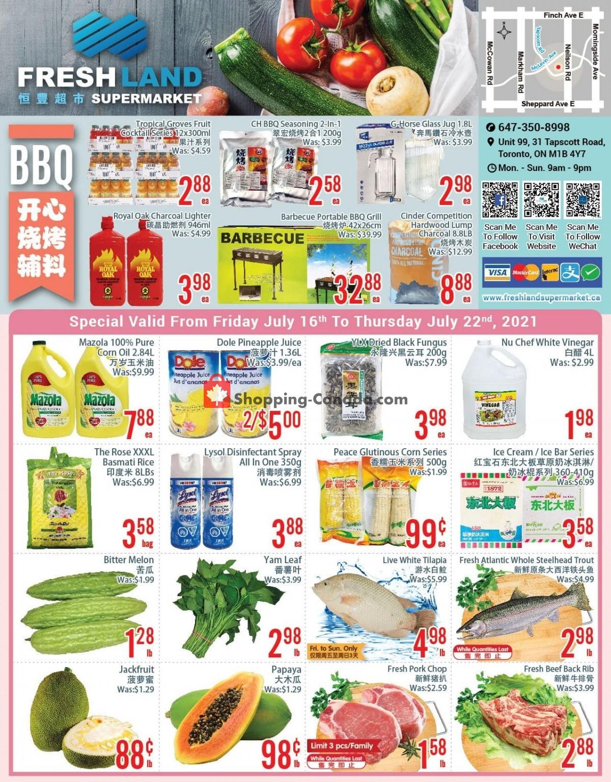 Flyer FreshLand Supermarket Canada - from Friday July 16, 2021 to Thursday July 22, 2021