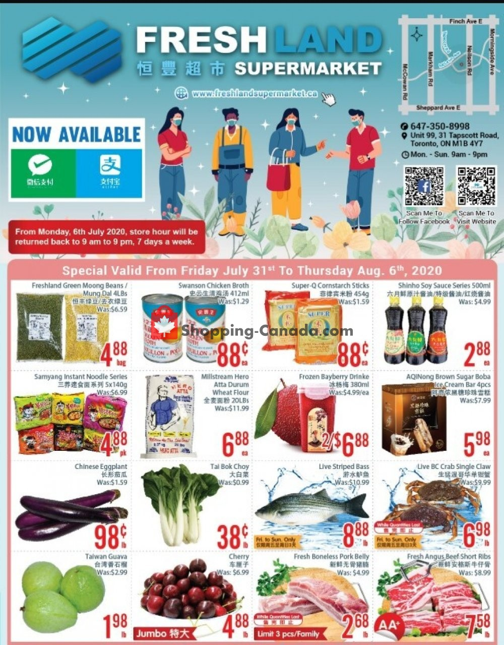 Flyer FreshLand Supermarket Canada - from Friday July 31, 2020 to Thursday August 6, 2020