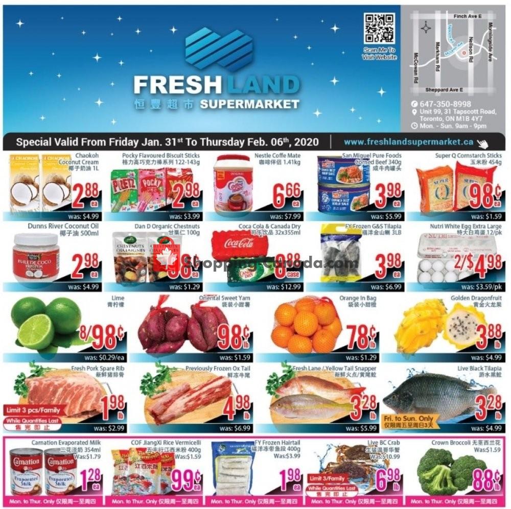 Flyer FreshLand Supermarket Canada - from Friday January 31, 2020 to Thursday February 6, 2020
