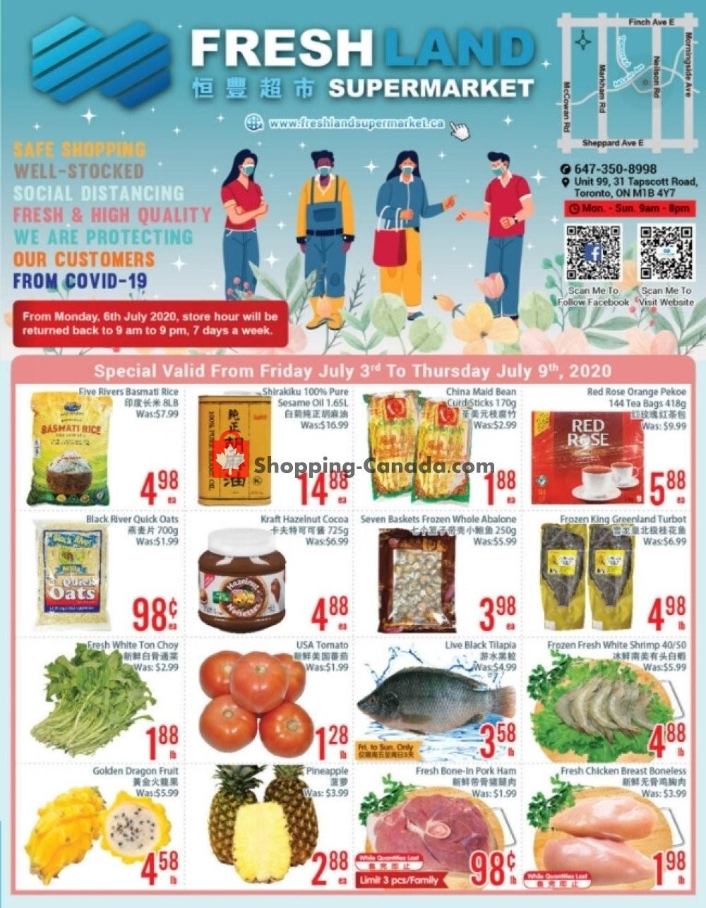 Flyer FreshLand Supermarket Canada - from Friday July 3, 2020 to Thursday July 9, 2020
