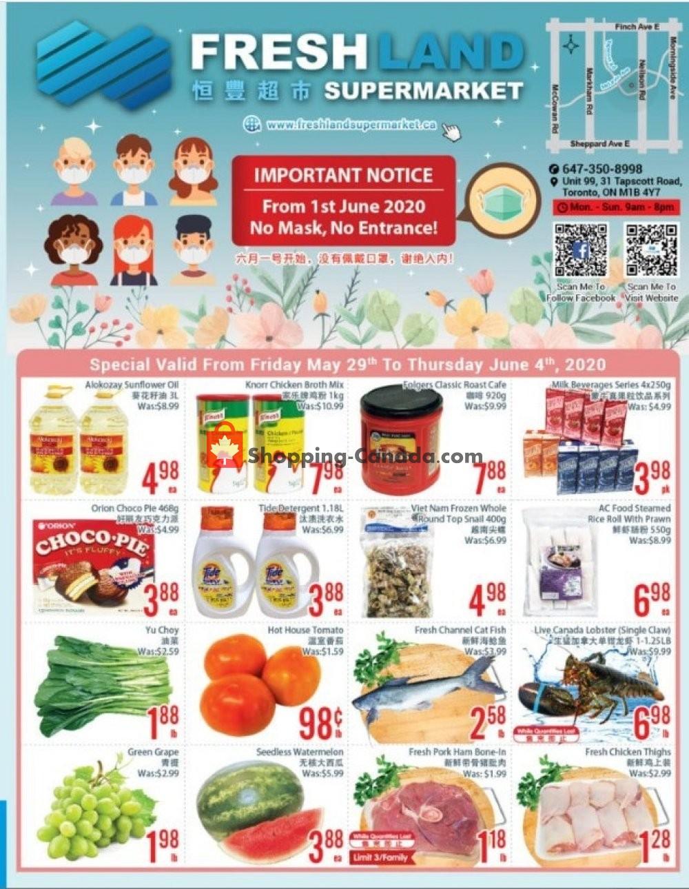 Flyer FreshLand Supermarket Canada - from Friday May 29, 2020 to Thursday June 4, 2020