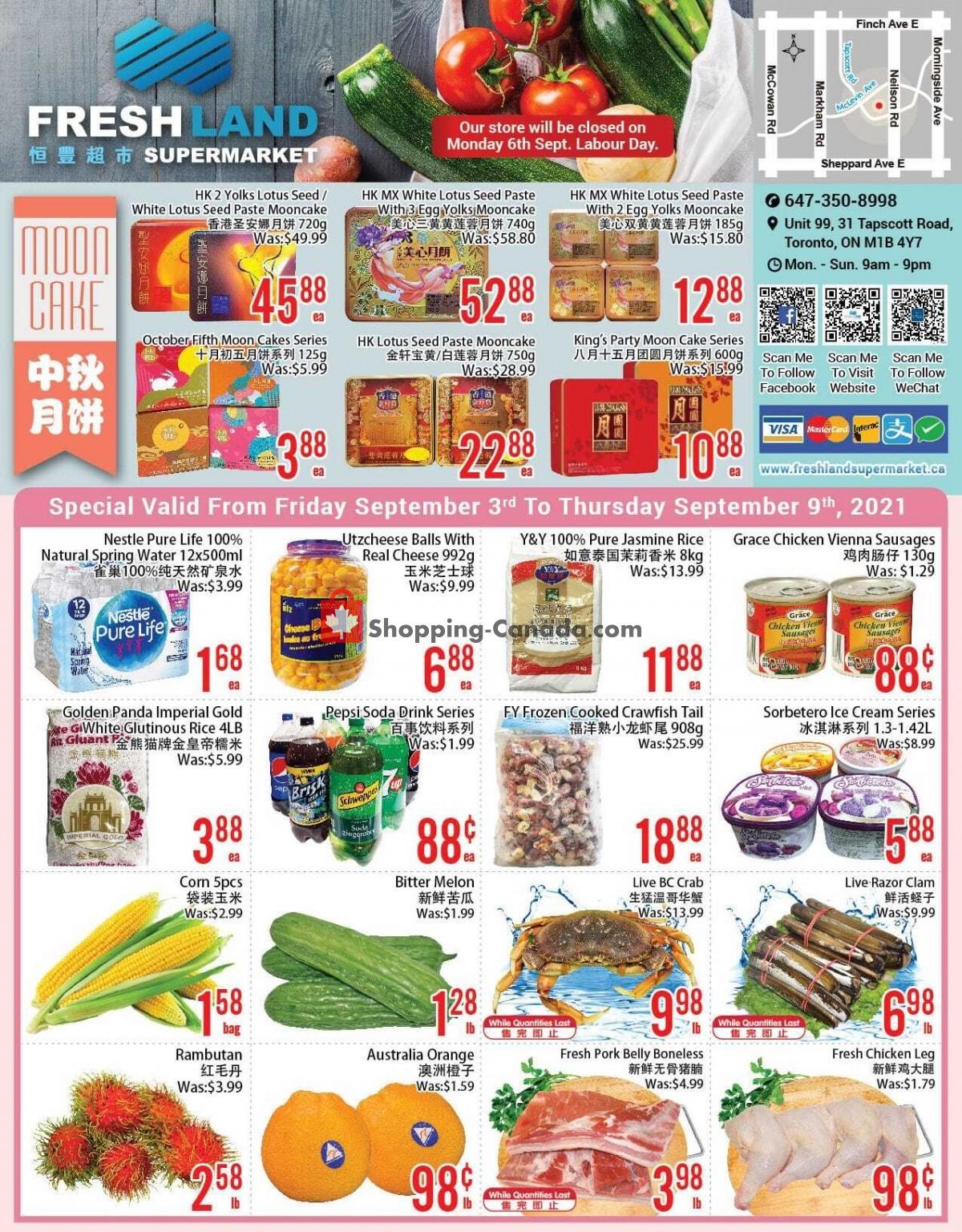 Flyer FreshLand Supermarket Canada - from Friday September 3, 2021 to Thursday September 9, 2021