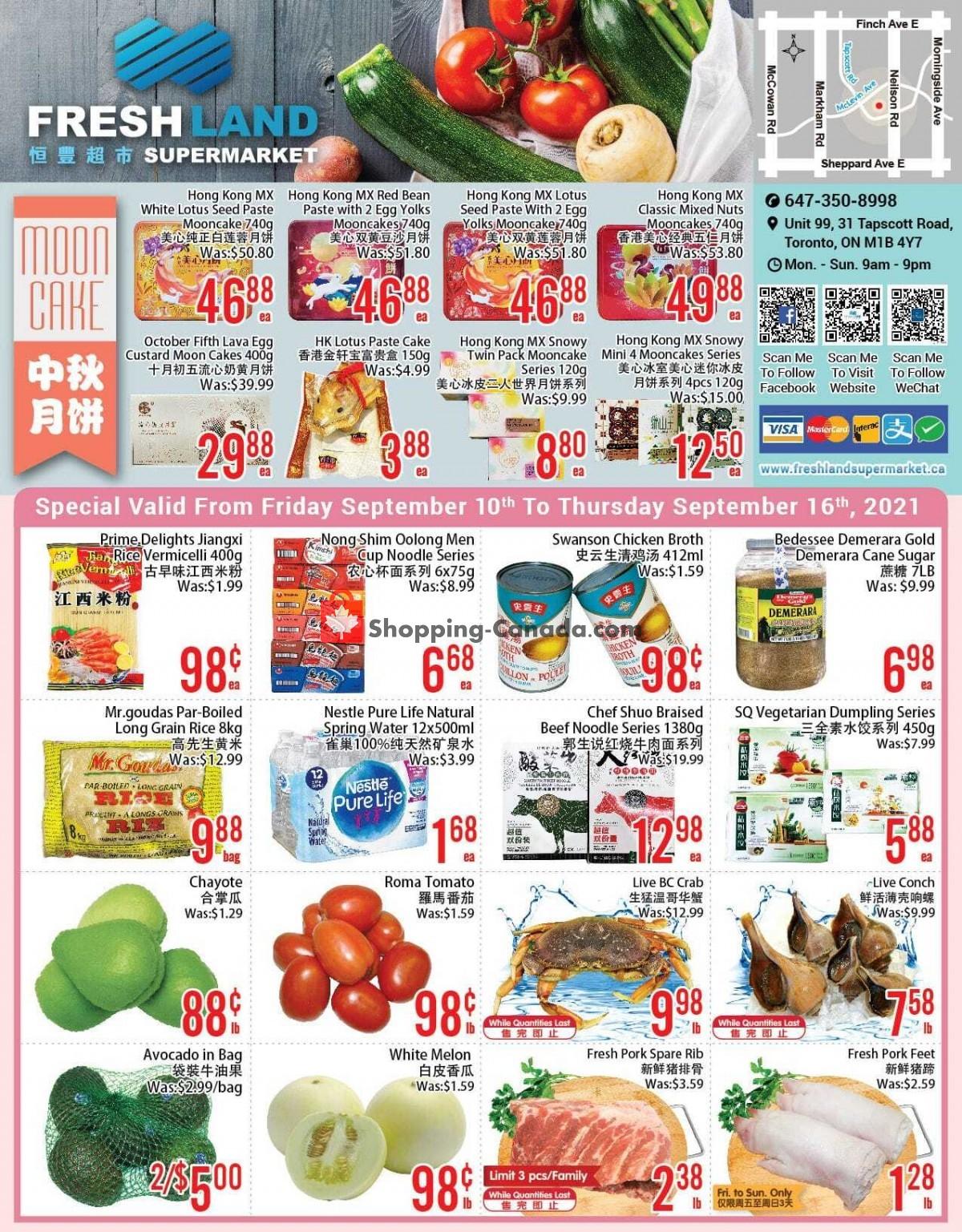 Flyer FreshLand Supermarket Canada - from Friday September 10, 2021 to Thursday September 16, 2021