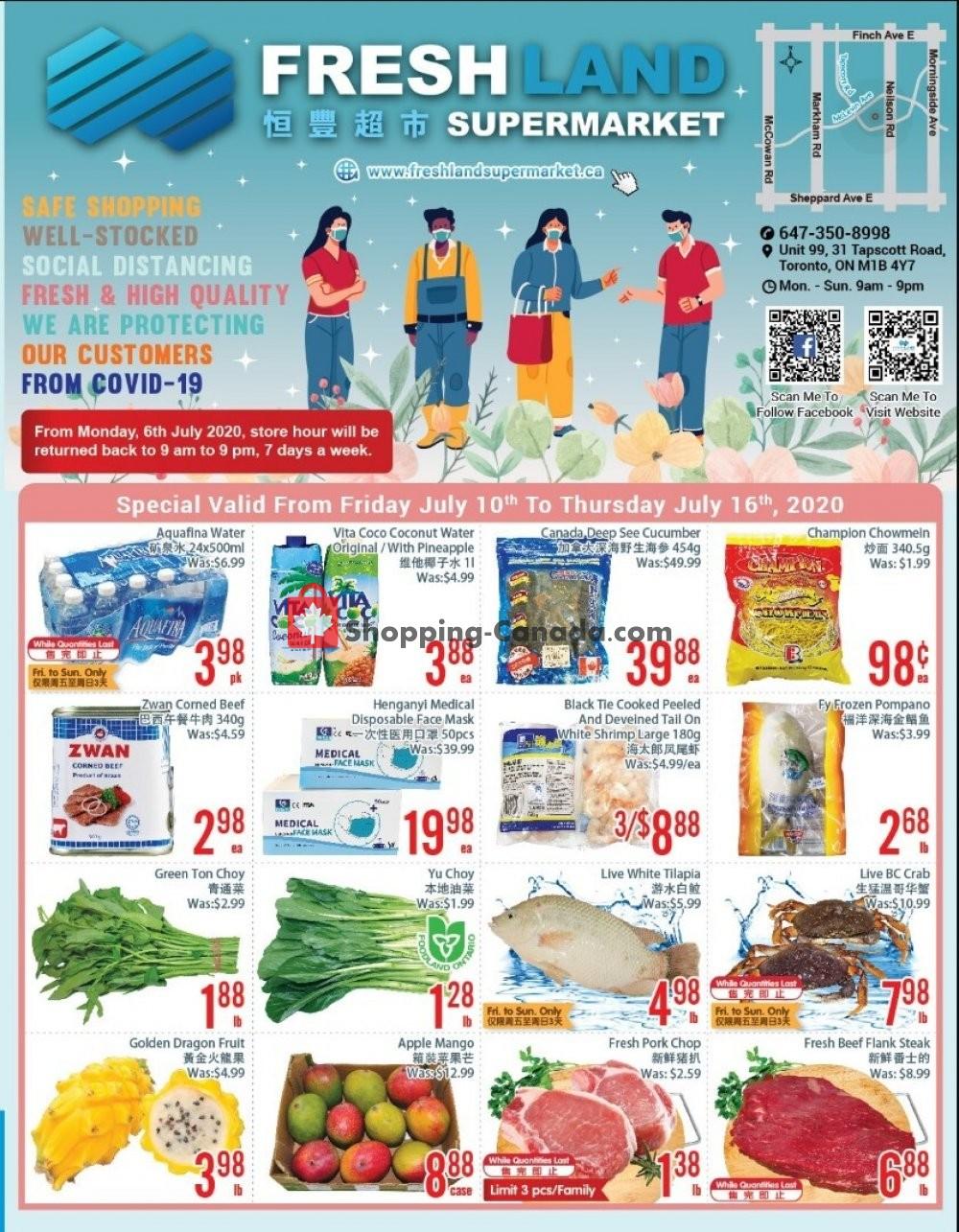 Flyer FreshLand Supermarket Canada - from Friday July 10, 2020 to Thursday July 16, 2020