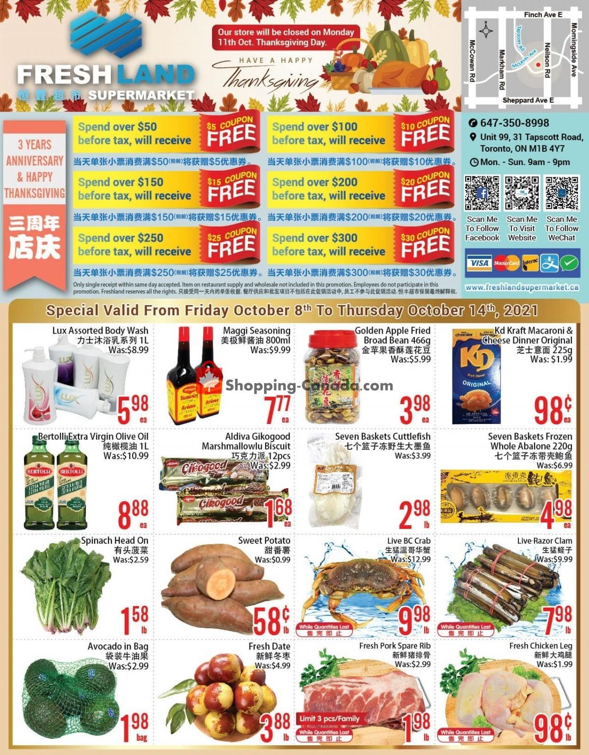 Flyer FreshLand Supermarket Canada - from Friday October 8, 2021 to Thursday October 14, 2021
