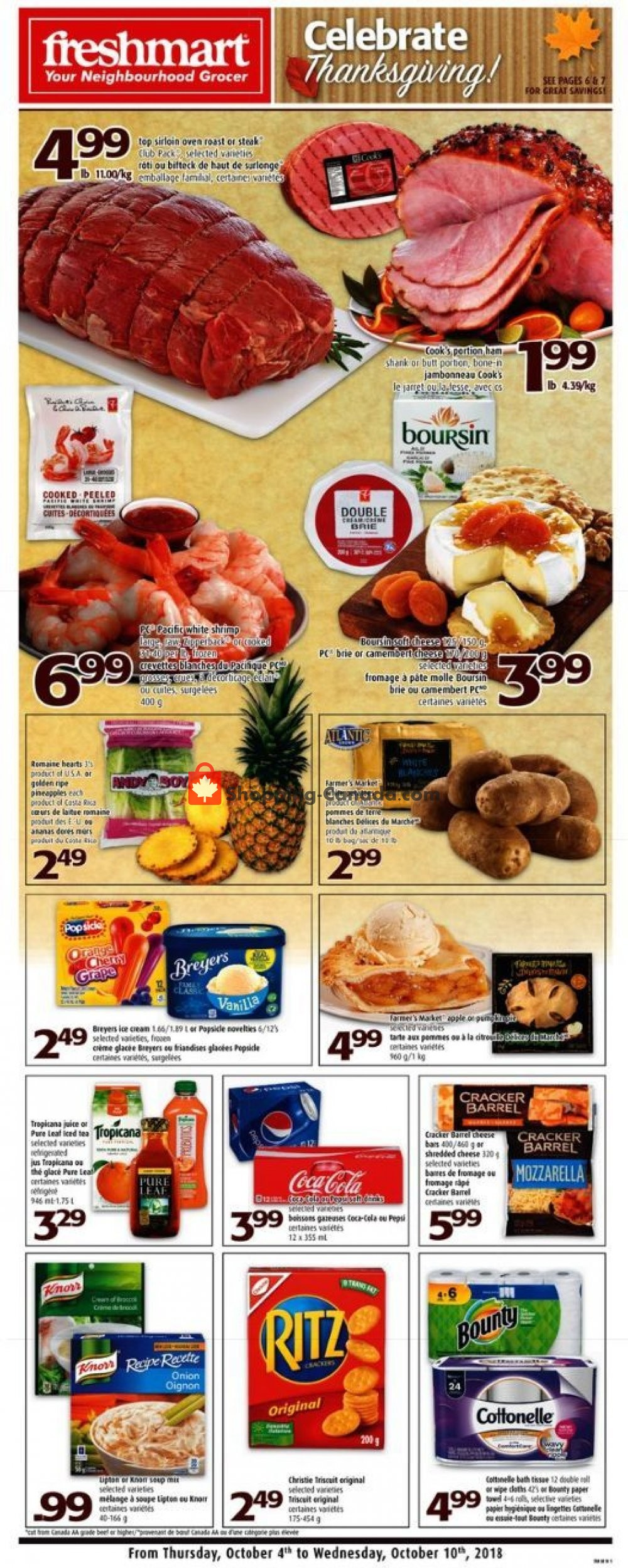 Flyer Freshmart Canada - from Thursday October 4, 2018 to Wednesday October 10, 2018